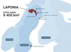 Skandinavienkarta: Laponia. Källa: Laponia.nu